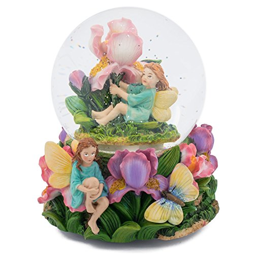 Fairy Children in Flowers 100MM Music Water Globe Plays Tune Beethoven Symphony Number 5