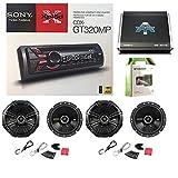 Sony Xplod CDX-GT320MP CD Receiver 52x4W Amp W/ Kicker 40CS674 6-3/4 Inch 600 Watt CS-Series Black Car Speakers(2-Pairs), Autotek TA10504 TA Series 1000W 4 Channel Amp & Enrock Audio 50' 18 Gauge Wire