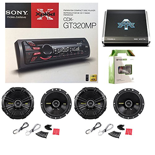 Sony Xplod CDX-GT320MP CD Receiver 52x4W Amp W/ Kicker 40CS674 6-3/4 Inch 600 Watt CS-Series Black Car Speakers(2-Pairs), Autotek TA10504 TA Series 1000W 4 Channel Amp & Enrock Audio 50' 18 Gauge Wire