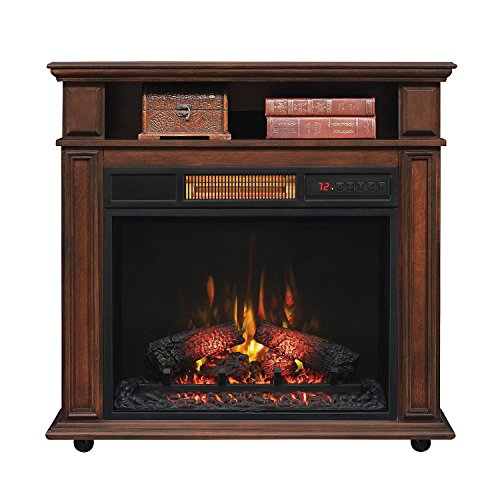 Twin Star 5,200 BTU Infragen Rolling Mantel with Infrared Quartz Electric Fireplace, Walnut Brown