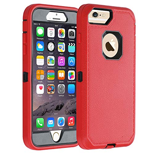 Co-Goldguard iPhone 6s Plus/6 Plus Case,Heavy Duty Armor 3 in 1 Rugged Cover with Front Frame Dust-Proof Shockproof Drop-Proof Scratch-Resistant Anti-Slip Shell for iPhone 6+/6s+ 5.5 inch,Red/Black