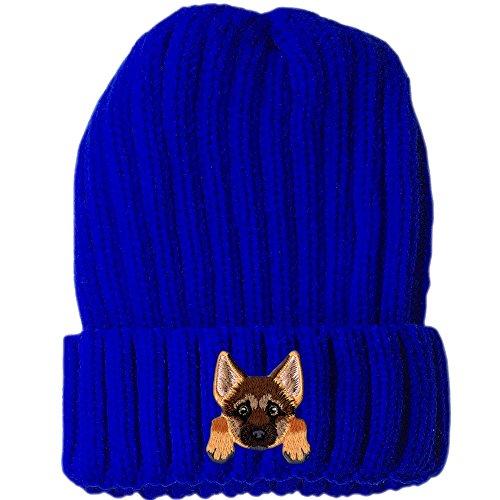 Shepherds Cute German ([ German Shepherd ] Cute Embroidered Puppy Dog Warm Knit Fleece Winter Beanie Skull Cap [ Blue ])