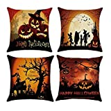 Halloween Pillow,MOCOFO 4 Packs Happy Halloween Cotton Linen Pillow Cover Both Sides Square Burlap Decorative Throw Pillowslip Decorative Cushion Cover with Bat Pumpkin Little Witch Element 18x18Inch