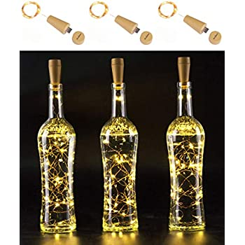 AnSaw Rechargeable Wine Bottle String Lights 3 Pack USB Powered 20LED Bottle Cork Lights Starry Fairy Home Twinkle Cork Shape Decor Lights Party, Christmas, Halloween,Wedding (Warm White)