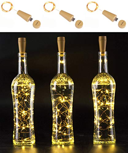 AnSaw Rechargeable Wine Bottle String Lights 3 Pack USB Powered 20LED Bottle Cork Lights Starry Fairy Home Twinkle Cork Shape Decor Lights for Party, Christmas, Halloween,Wedding (Warm -