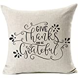 "Give Thanks Thanksgiving Fall Throw Pillow Case Cushion Cover Decorative 18"" x 18"""