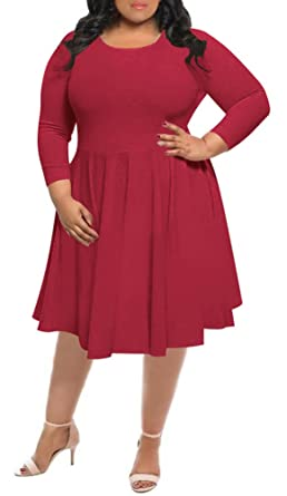 Delcoce Women\'s Long Sleeve Stretch Flare Pleated Party Dresses Plus ...