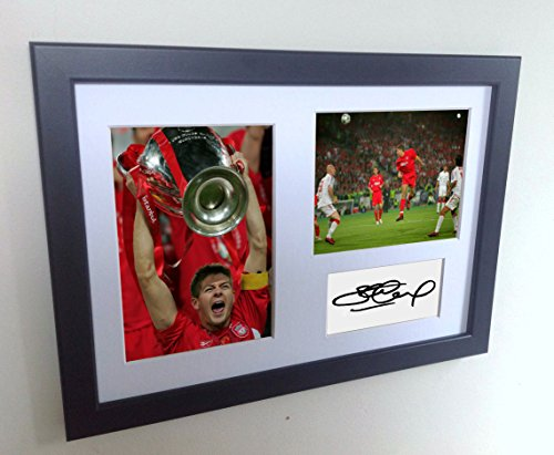 Signed Black Soccer Steven Gerrard Champions League Winner Liverpool FC Autographed Photo Photographed Picture Frame A4 12x8 Football Gift by Kicks