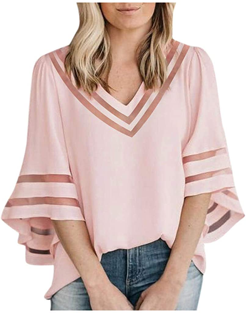RUIVE Women/'s Chiffon Tops Patchwork Mesh Solid Ruffles Loose Frenulum Pullover Ladies V-Neck Blouse