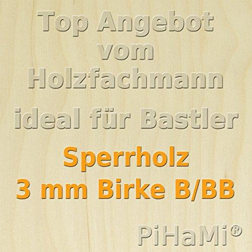 PiHaMi/® 3 mm Birke Sperrholzplatte Qualit/ät B//BB 152 x 50cm GP 8,80 /€ pro m/²
