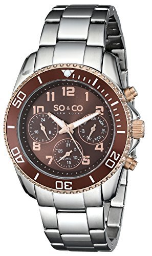 SO&CO New York Men's 5029.4 Yacht Club Brown Unidirectional Bezel GMT Day and Date Stainless Steel Link Bracelet Watch