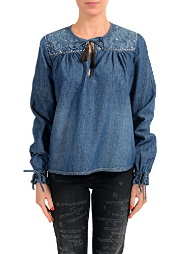 Just Cavalli Linen Embellished Denim Women's Blouse Top US S IT 40 Cavalli Linen