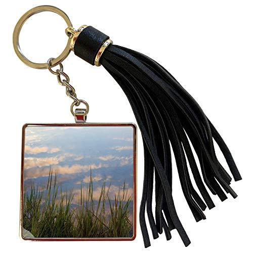 3dRose Danita Delimont - Lakes - Reflections in a tidal marsh, Wellfleet, Massachusetts. - Tassel Key Chain (tkc_259434_1)