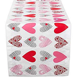"DII 100% Cotton, Machine Washable, Printed Kitchen Table Runner For Mother's Day, Valentin's Day and Everyday Use - 14x72"", Hearts Collage"