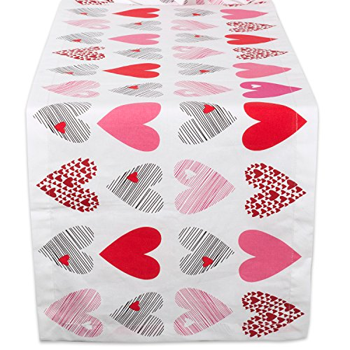 DII 100% Cotton, Machine Washable, Printed Kitchen Table Runner For Mother's Day, Valentin's Day and Everyday Use - 14x72
