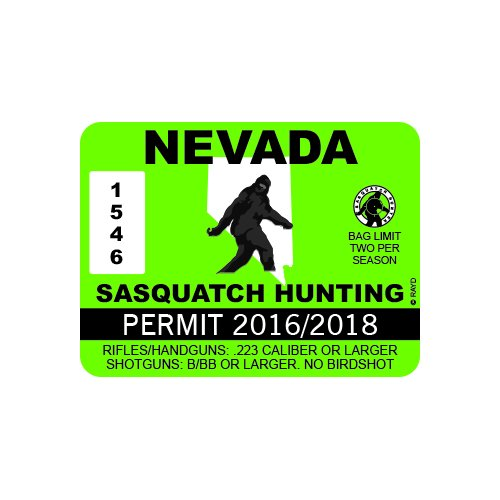 Nevada Sasquatch Hunting Permit - Color Sticker - Decal - Die Cut