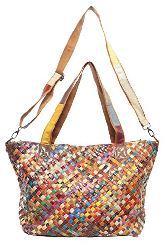 AGB Shopper in vera pelle intrecciata multicolor