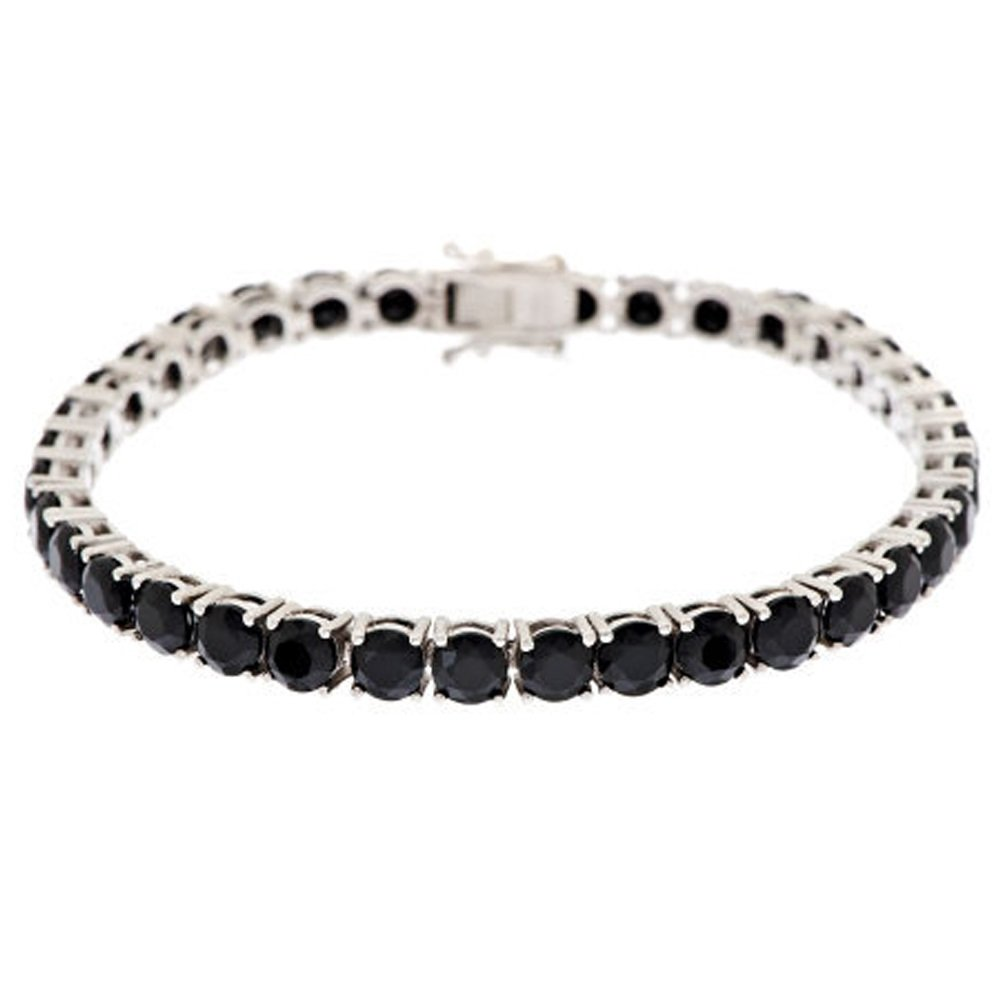 Silvercz Jewels ''Fancy Free'' 6mm Cushion-Cut Black CZ 14K White Gold Plated Line Bracelet