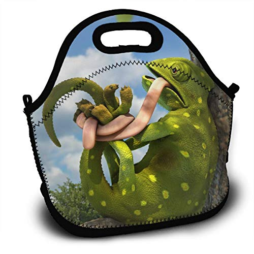 - GE-furniture--FUG A Chameleon That Ties Itself Up Lunch Bag Tote Handbag Lunchbox Food Container Gourmet Tote Cooler Warm Pouch for School Work Office