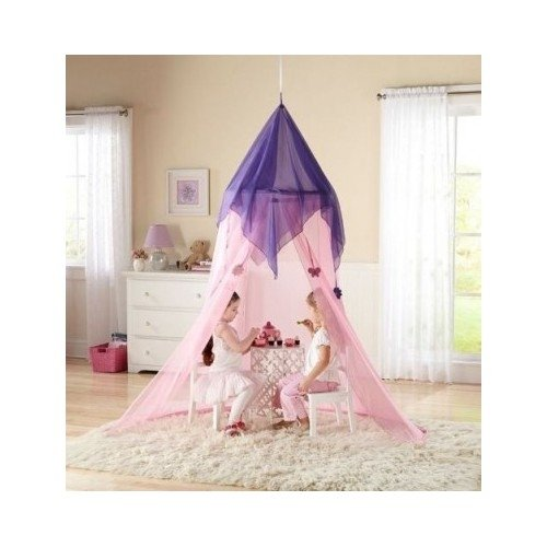 Kids Girls Fairy Tale Pink Purple Princess Canopy For Bed