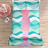 Blue, Pink and Purple 3-Piece Full Comforter Set For Girls with Mermaid Printed Made From Polyester and Glam Style Included Cross Scented Candle Tart