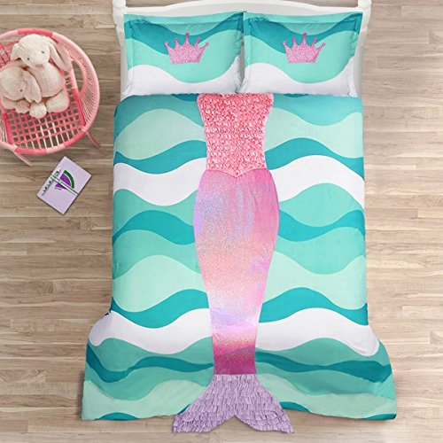 Blue, Pink and Purple 3-Piece Full Comforter Set For Girls with Mermaid Printed Made From Polyester and Glam Style Included Cross Scented Candle Tart by LD Products