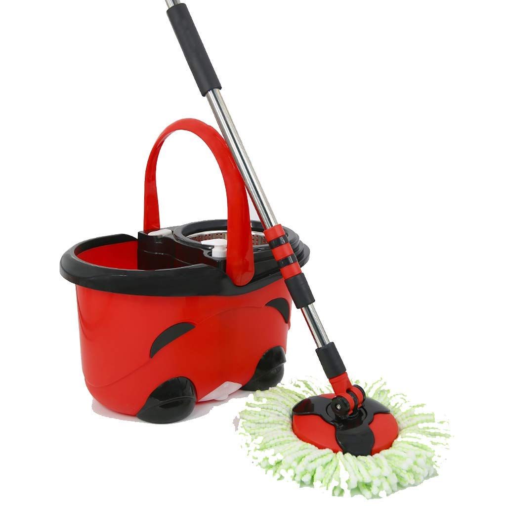 Desti Flakes Stainless Steel Hand Pressing Rotary Mop Bucket (Color : Red)