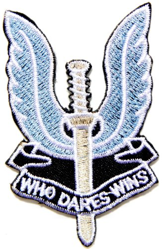 WHO DARES WINS British Special Air Service Army Military Logo Tab Jacket Uniform Patch Sew Iron on Embroidered Sign Badge - Shipping Shop The British