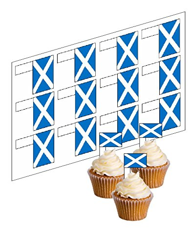 12 Scottish Flag Cupcake Picks! - 'Stand Up' ricepaper cake decorations (uncut) by simply topps