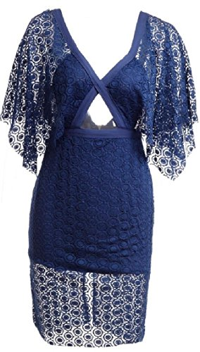 Jaycargogo Femmes Manteau En Dentelle Sexy Poncho Cape Moulante Cocktail Mini-robe 1