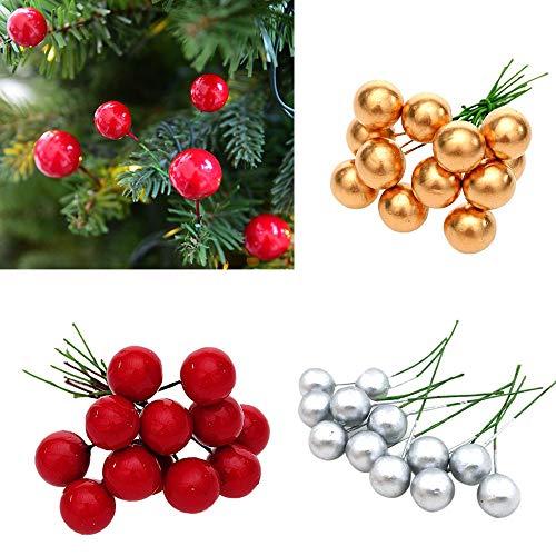 American Cherry Plank - Coohole 12Pcs Christmas Tree Decoration Simulation Cherry Christmas Decorative Pendant (Red)