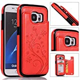Back Wallet Case for Samsung Galaxy S7 with Stand,QFFUN Elegant Embossed Design [Butterfly Flower] Lightweight Slim Fit Leather Phone Case with Card Holder Protective Bumper Flip Cover - Red