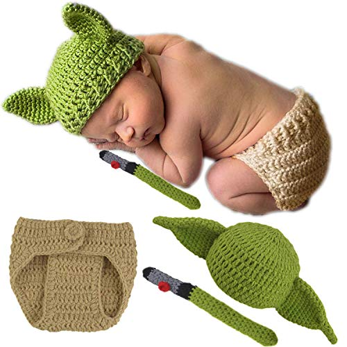 Baby Yoda Hat + Diaper Cover Full Costume For Every Day & Great Photos Star Wars Yoda Ears Knitted Crochet Outfits…