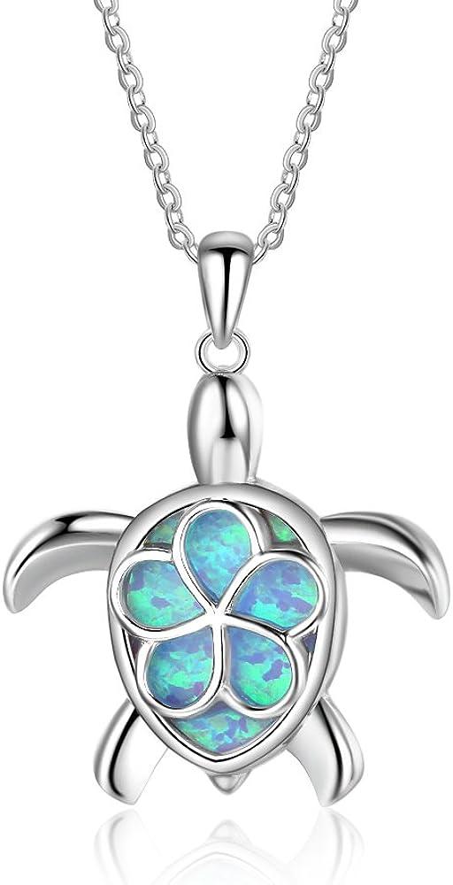 YAZILIND Lindo Animal mar Tortuga ópalo Collar Colgante 925 Sterling Plata Moda Azul Gema clavícula Cadena día de San Valentín Regalo para Mujeres niñas