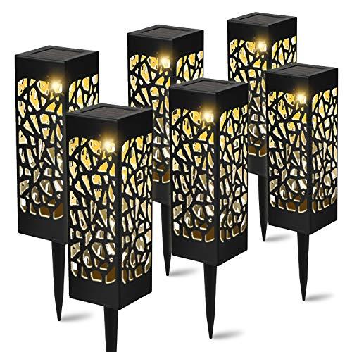 YAOBLUESEA 6 stuks solarlampen voor in de tuin of buiten, waterdicht IP55, 600 mAh batterij, decoratieve zonnelamp…