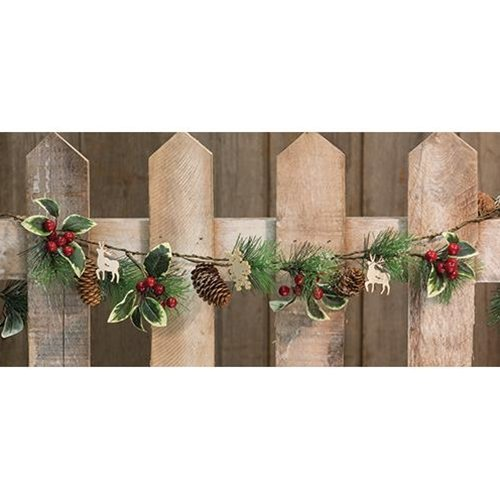 Heart of America Pinecone & Berry Garland with Wood Cutouts