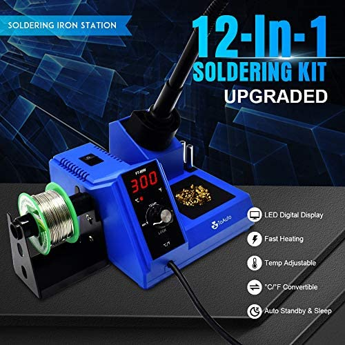 TOAUTO Soldering Station,80W Digital Solder Iron Station Kit with 176 F-896 F Temperature, C F Func, Auto Standby Sleep, Temperature Lock,5 Extra Solder Tips, Solder Bracket, Solder Sucker FT-80W