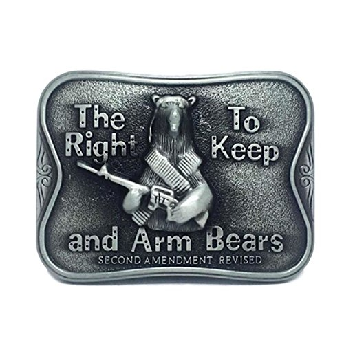 Bear Arms Belt Buckle - KeCol Adult Unisex Right to Keep And Arm Bears Grizzly Bear Belt Buckle