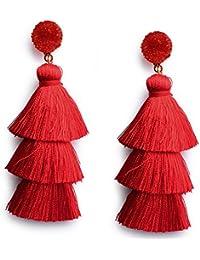 Colorful Layered Tassel Earrings Bohemian Dangle Drop Tiered Tassel Druzy Stud Earrings Women Gifts