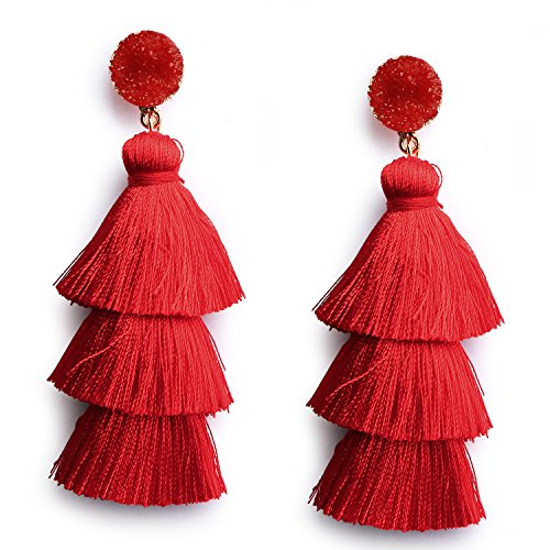 Red Thread Tassel Earrings Statement Layered Fringe Drop Earrings Chandelier Dangle Studs Christmas Halloween Costumed Earrings ()