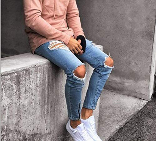 Slim Casual Hip Da Jeans Uomo Denim Vintage Streetwear Fit Moto Strappati Moderna Simili Hop Hellblau Pantaloni 1A1qIw0n