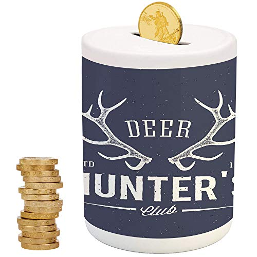 - iPrint Hunting Decor,Ceramic Coin Bank,Christmas Birthday Gifts for Kids Boys Girls Home Decoration,Deer Hunters Club Logo Design with Antlers Retro Typography Shabby Icon