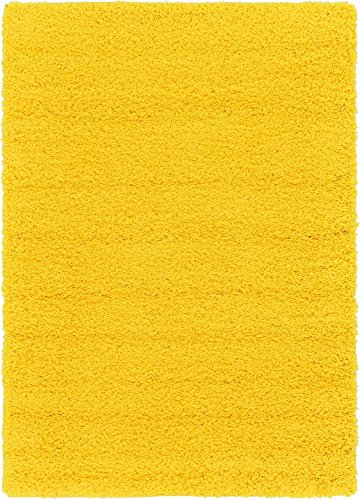(Unique Loom Solo Solid Shag Collection Modern Plush Tuscan Sun Yellow Area Rug (4' 0 x 6' 0) )