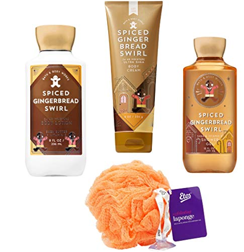 Spiced Gingerbread Swirl Set (4 Piece) - Shower Gel 10 oz, Lotion 8 oz, Body Cream 8 oz, and Loofah; Signature Collection Gift ()