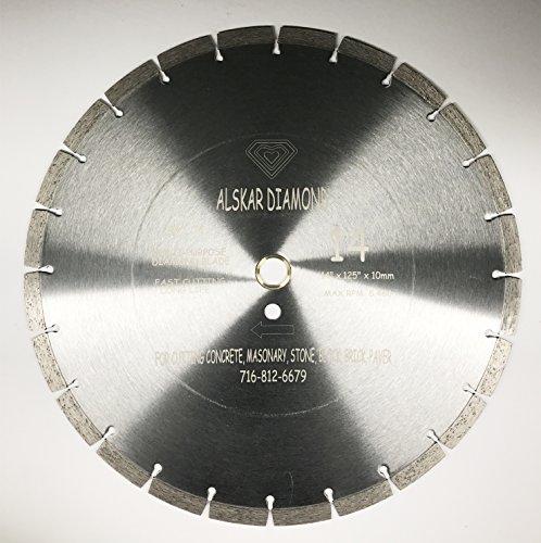 ALSKAR DIAMOND ADLSS 14 inch Dry or Wet Cutting General Purpose Power Saw Segmented Diamond Blades for Concrete Stone Brick Masonry (14