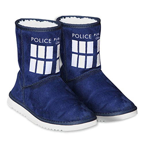 Doctor Who Women's Tardis Boot Slippers Small Navy Blue]()