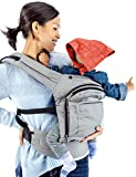 Mo+m Ergonomic Baby Carrier (Grey) - Soft Structured Sling w/ Mesh Cooling Vent, Hood & Pockets