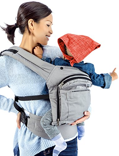 Review Of Mo+m Ergonomic Baby Carrier (Grey) - Soft Structured Sling w/ Mesh Cooling Vent, Hood & Po...