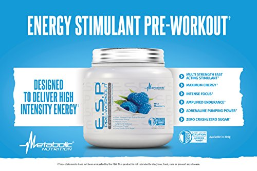 Metabolic Nutrition, ESP, Energy and Endurance Stimulating Pre Workout, Pre Intra Workout, High Energy and Mental Focus, Stimulating Workout Supplement, Blue Raspberry, 300 Grams (90 Servings) by Metabolic Nutrition (Image #2)