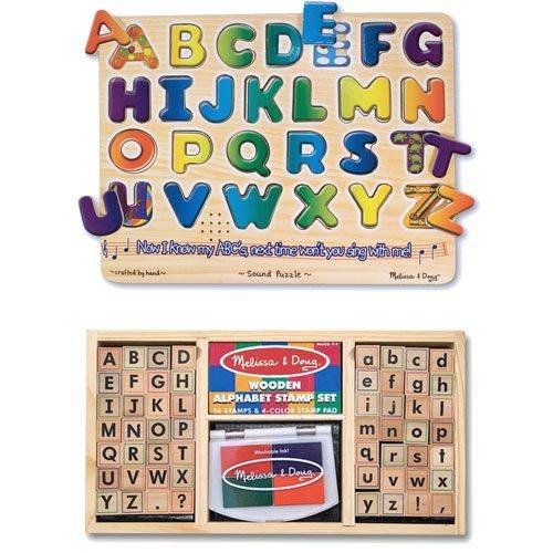 Melissa & Doug Alphabet Stamp Set and Alphabet Sound Puzzle Bundle (Melissa Doug Pets Mix)